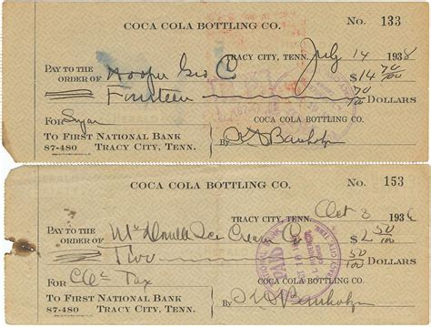 Tn Background Check 1930s Coca Cola Cancelled Checks Grundy County Tracy City Tennessee Photograph By