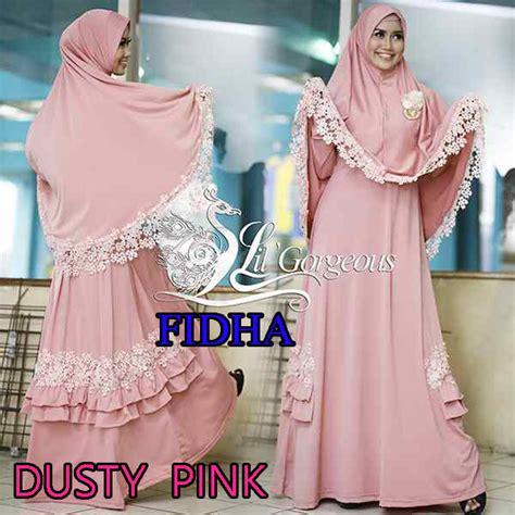 Baju Muslim Syari Queena fidha dusty pink baju muslim gamis modern