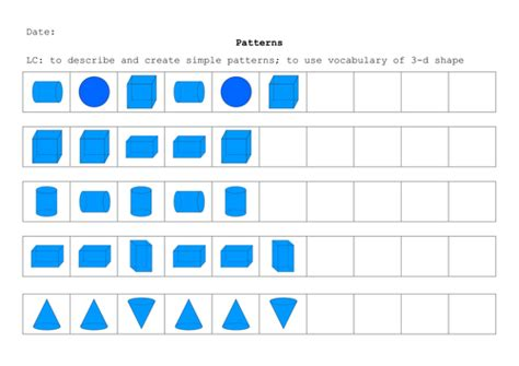 pattern worksheet ks1 3d shape pattern by kyleb99 teaching resources tes