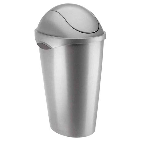 swing lid trash can umbra swing top trash can nickel in kitchen trash cans