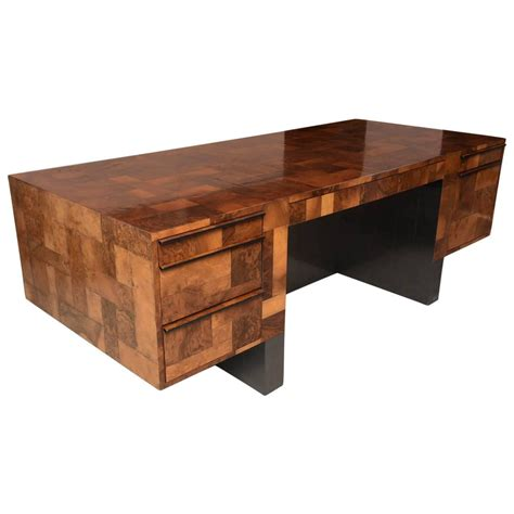 American Modern Burled Walnut And Pewter Cityscape Desk Modern Walnut Desk