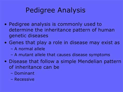 simple pattern of inheritance pedigree analysis