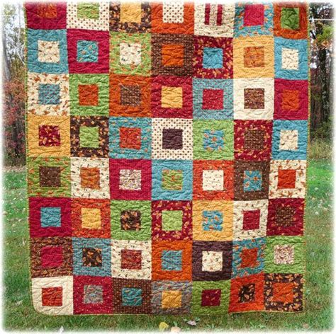 Scrappy Patchwork Quilts - autumn quilt framed patchwork scrappy