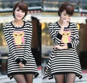 Kaos Cewek Cewek Owl White kaos remaja casual owl stripe hitam putih k31