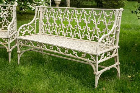 cast garden bench pair of gothic style cast iron garden benches at 1stdibs