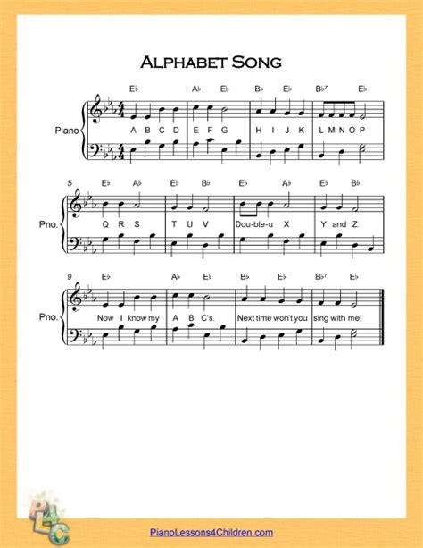 Letter Song Lyrics Alphabet Song Abc Song Lyrics Free Sheet For Piano