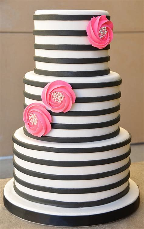 Black and White Fondant Stripe Wedding Cake with Rosette