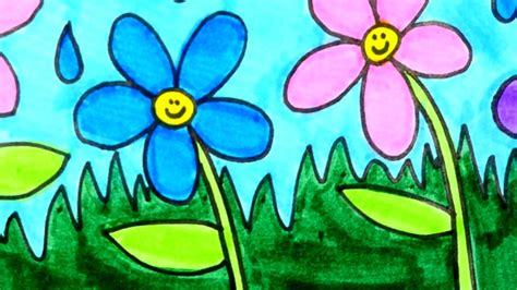 draw and color how to draw and color flowers flower coloring page for