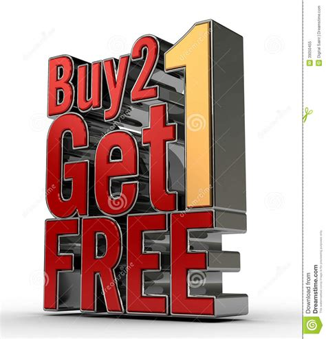 where to buy one buy 2 get 1 free stock illustration image 39050455