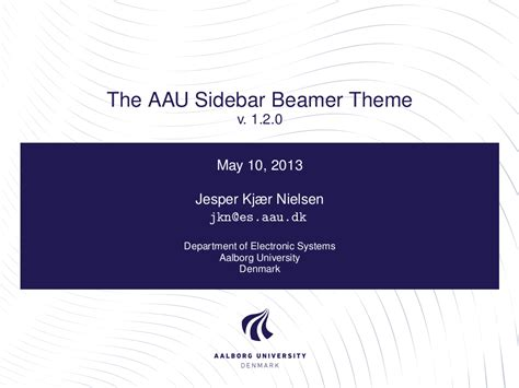 template beamer latex presentation official aau beamer
