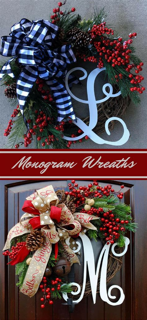 beautifully  monogram christmas wreaths choose