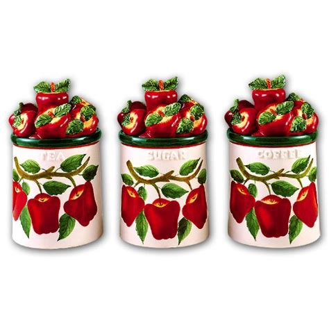 apple kitchen canisters red apple canister set red apple canister set