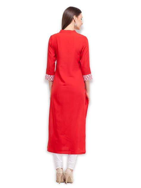 lace pattern for kurti buy red lace long kurti online
