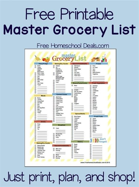 pantry list template free printable master grocery list instant