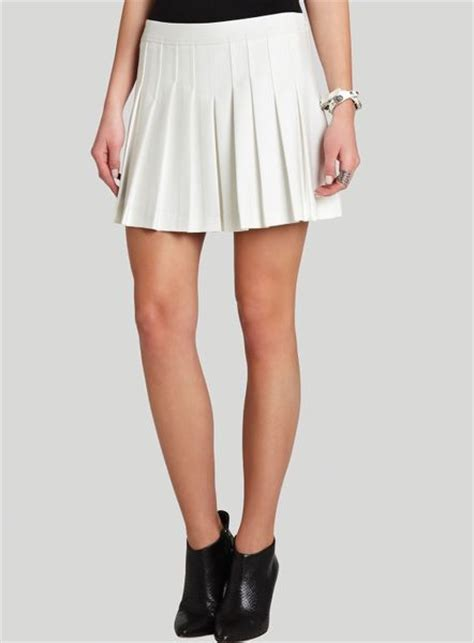bcbgmaxazria mini skirt shane pleated in white white
