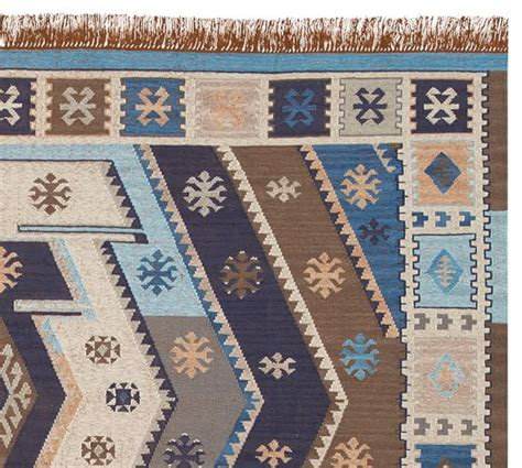 Outdoor Kilim Rug Recycled Yarn Kilim Indoor Outdoor Rug Indigo Pottery Barn