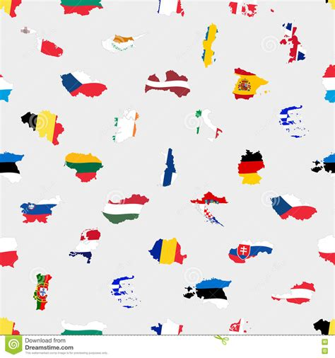 seamless european pattern simple color flags all european union countries like maps