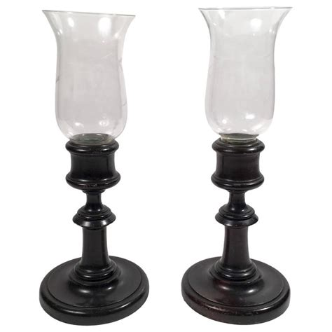 hurricane l shades for sale pair of candlesticks or photophores with glass hurricane