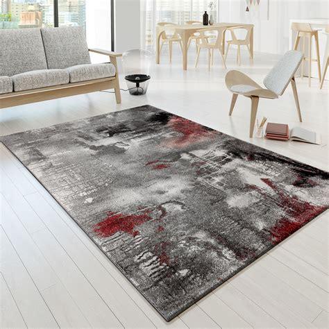 teppich rot grau designer teppich modern arizona leinwand optik grau rot