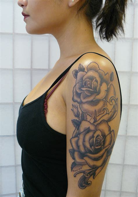 girl roses tattoos half sleeve tattoos roses www pixshark images