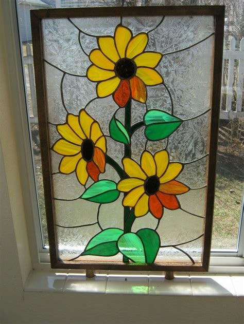ebay stained glass ls vintage framed sunflower stained glass panel 25 6 16 quot x 16