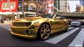 24k gold chevrolet camaro on lexani wheels
