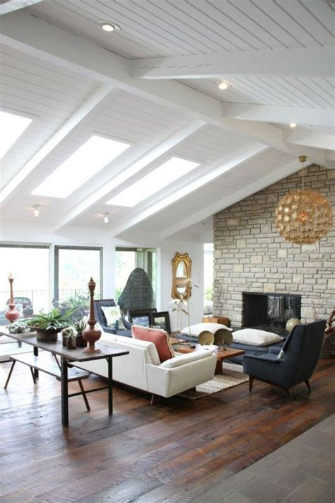vaulted ceiling beams skylights those floors fireplace gah house ideas inspiration