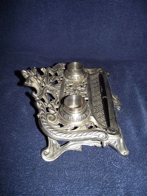 nickel plated desk l nickel plated desk ink stand circa 1900 from