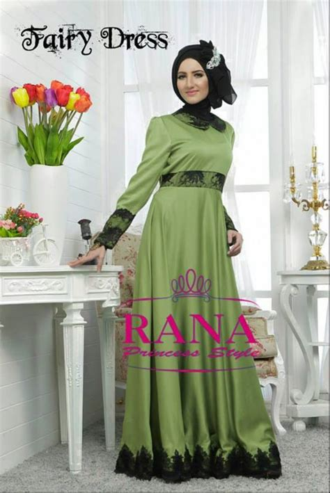 Dress Flower Brukat Black Terlaris dress by rana hijau baju muslim gamis modern