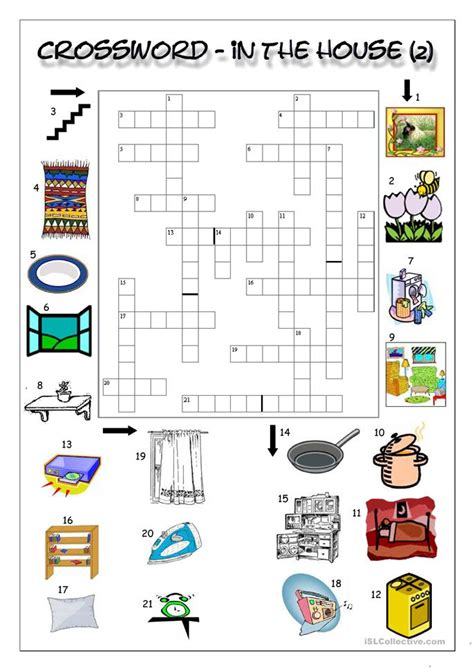 crossword in the house 2 worksheet free esl