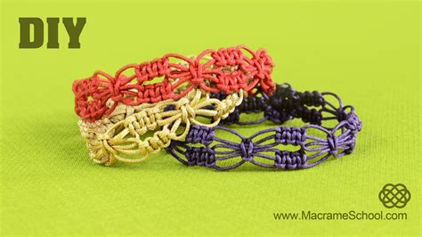Macrame School - diy easy square knot flower bracelets macrame school
