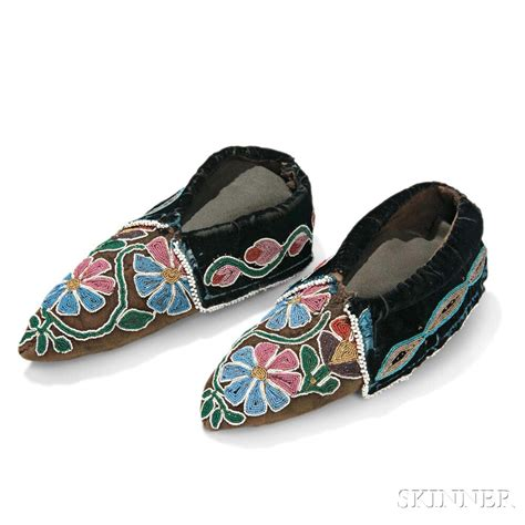 beaded moccasins pair of beaded hide moccasins sale number 2983b