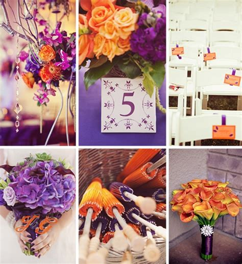 Orange Color Theme | fall wedding ideas and invitations purple and orange wedding