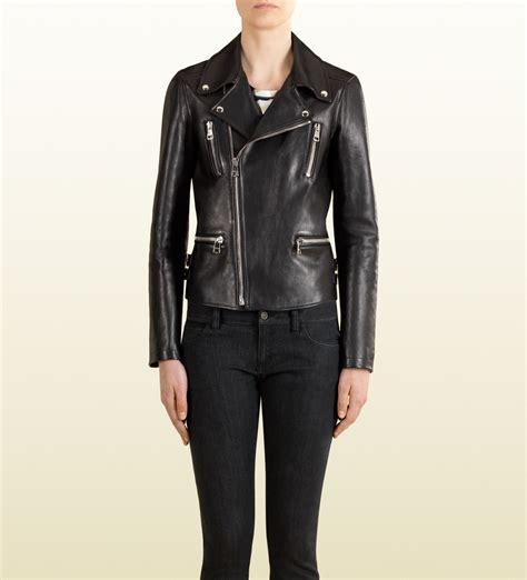 Guc Ci Leather lyst gucci black leather biker jacket in black