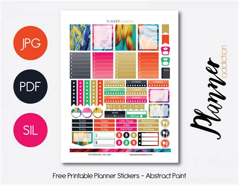 free printable daily planner stickers weekly abstract paint planner addiction