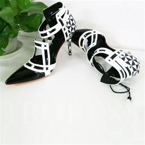 Pointed Lace Up Pumps pointed toe lace up geometric stiletto heel s pumps