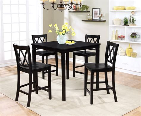 essential home dahlia 5 square table dining set black