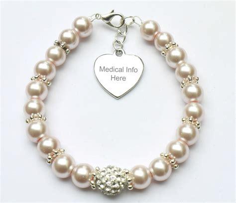 Handmade Alert Bracelets - engraved handmade personalised medic id pearl bracelet ebay
