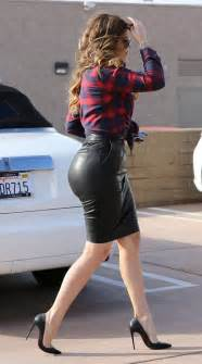 khloe in tight leather skirt out for car