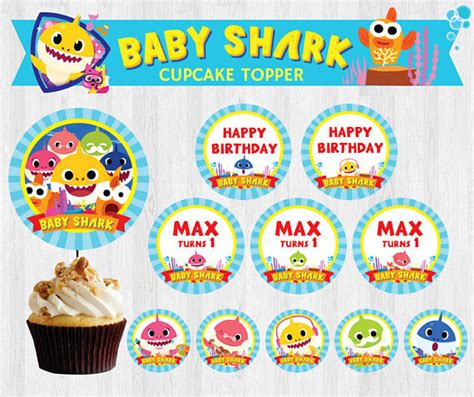 baby shark video download free pinkfong baby shark editable birthday party cupcake topper
