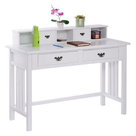 White Desk For Home Office Writing Desk Mission White Home Office Computer Desk 4 Drawer White Hw50202 In Coffee Tables