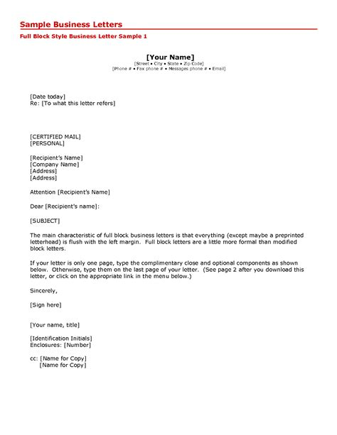 Business Letter Format Blank business letter format and sle business letter format