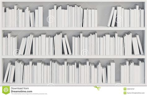 white with bookcase with white books stock illustration illustration