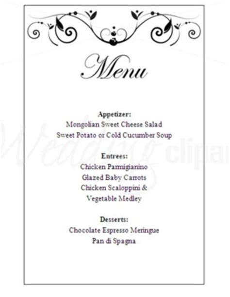wedding menu cards templates for free printable poetic menu template