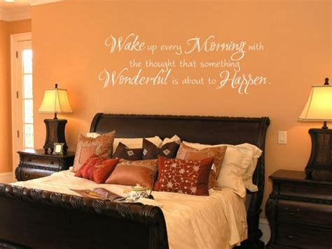 Orange Wall Color With Traditional Wooden Bed Frame And Bed Frame Wall Decal
