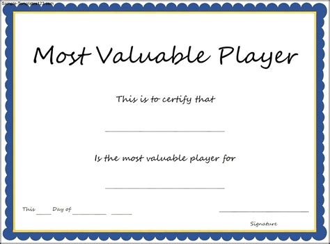 mvp certificate template sports most valuable player certificate template