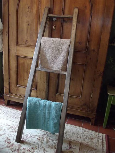 reclaimed wooden towel ladder  woods vintage home