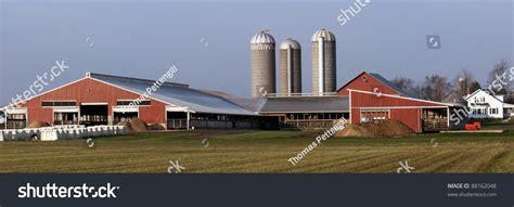 Barn On A Dairy Farm Dairy Farm Central Michigan Panorama Capture Stock Photo