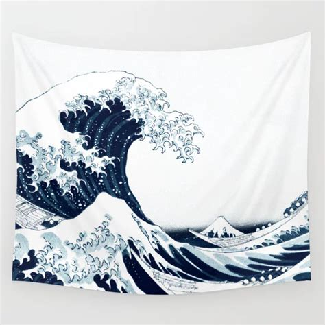 great wave halftone wall tapestry   tapestry