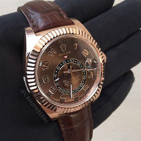 Rolex Sky Dweller Brown rolex sky dweller gold brown crm jewelers miami fl